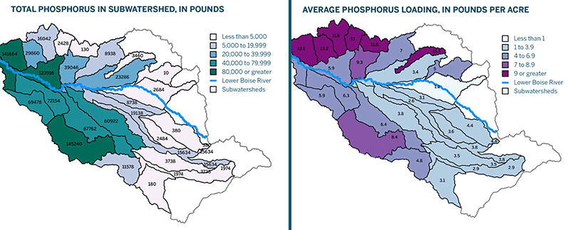 Analysis of phosphorus loading by subwatershed from surface irrigated fields in an Idaho basin. Conservation or land management actions to reduce phosphorus loading may include cover crops, no-till, and filter strips, as well as irrigation upgrades from flood irrigation to sprinkler or drip irrigation. Each action is modeled to estimate the quantifiable reduction in pounds of phosphorus that can be achieved.