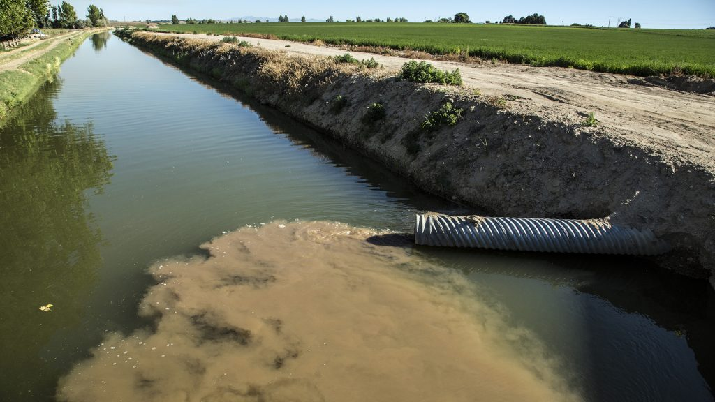 A sediment plume from agricultural drains in Idaho