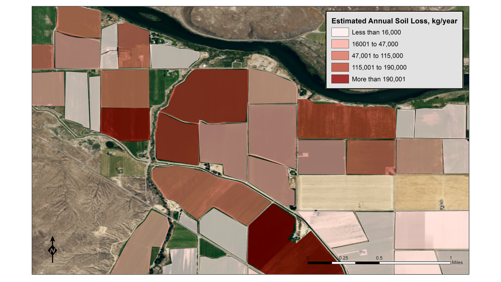 Estimated annual soil loss from specific agricultural fields